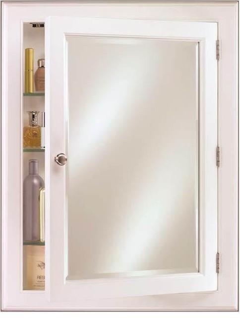 Recessed Or Surface Mount Wood Medicine Cabinet, Devon, Large, White.