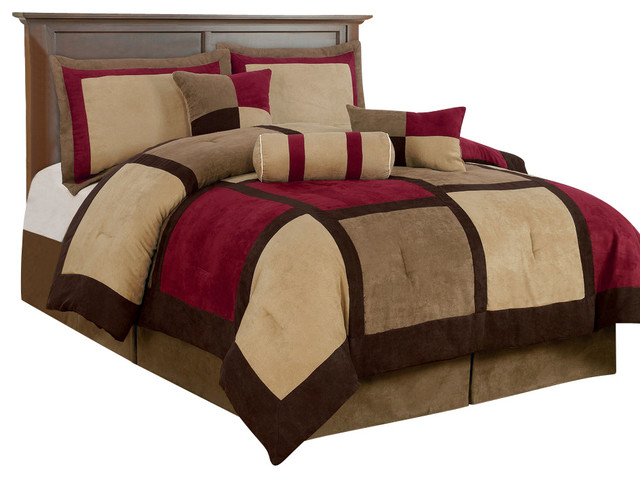 7-Piece Micro Suede Patchwork Bed-in-a-Bag Comforter Set