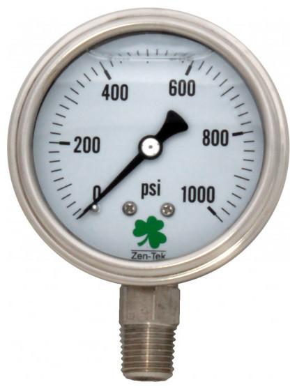 Zenport 0-1000 Psi Glycerin &x27;liquid&x27; Filled Pressure Gauge.
