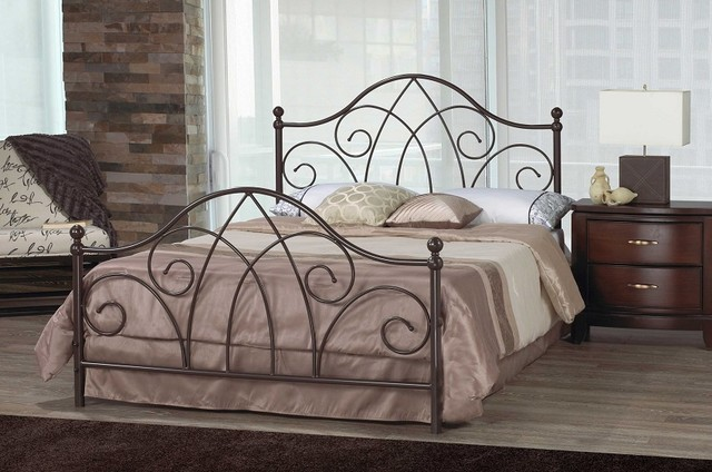 Metal King Headboards Wrought Iron Bed Headboards Queen: Brittany Scroll Caramel Brown Wrought Iron Double Bed
