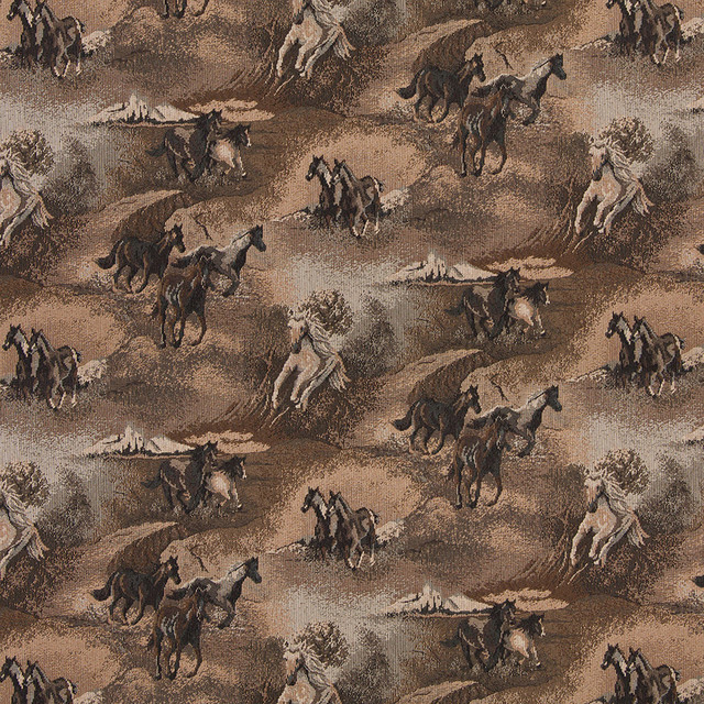 Beige Wild Horses Galloping Themed Tapestry Upholstery Fabric By The