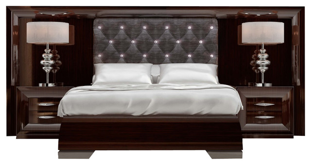 Md Sophie 38 Special Headboard Bedroom Set, Glossy Wood Appearance, Queen