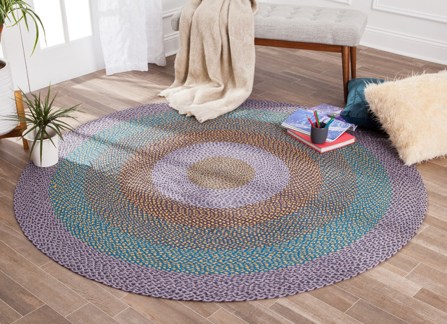 Round Blue And Yellow Blend Jute Rug 8