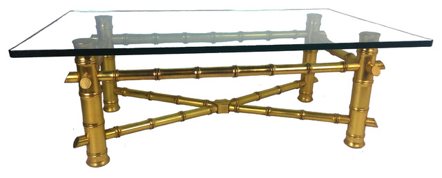 Consigned Gold Leaf Faux Bamboo Coffee Table With Thick Gl Top