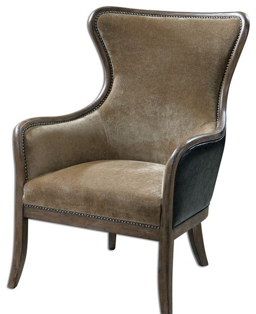 Plush Tan And Chocolate Brown Velvet Wing Chair