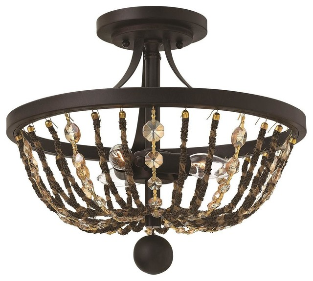 Fredrick Ramond Hamlet Semi Flush Mount Light, Vintage Bronze.