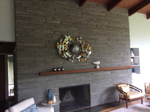 Decorate Fireplace Mantel Asymmetrical Mid Century
