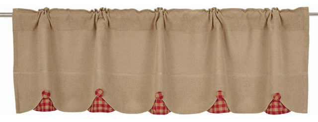 "Burlap W/ Check Red 16""x60"" Scalloped Valance."