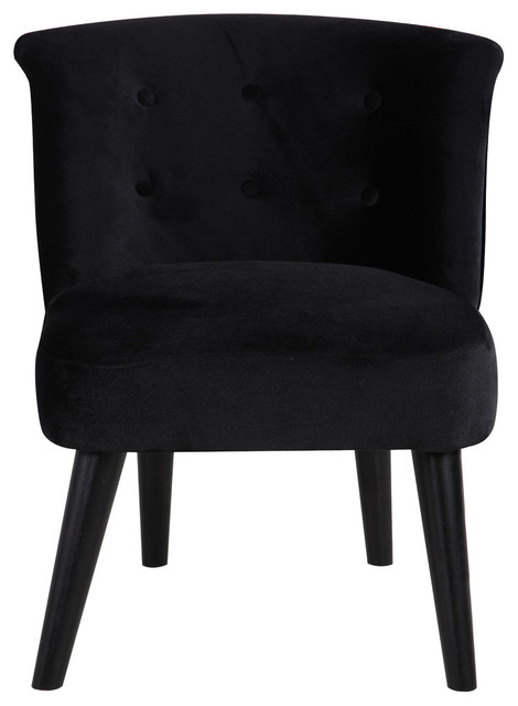 Classic and Traditional Living Room Velvet Fabric Accent Chair, Tufted  Detail