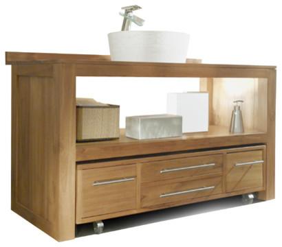 Meuble salle de bain en bois de teck brut 120 layang for Meuble salle de bain sous lavabo