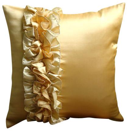 Gold Satin 14 X14 Vintage Style Ruffles Pillow Covers Vintage Honey Modern