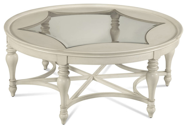 sanibel coastal white wood glass round cocktail table traditional coffee tables
