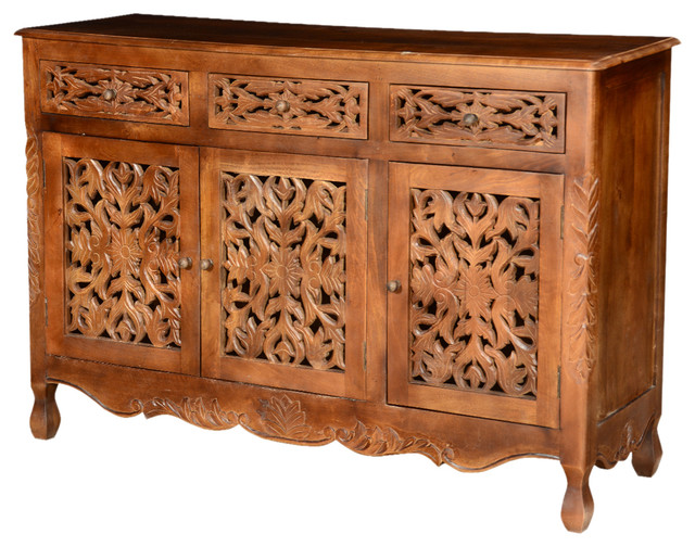 Pennsylvania German Mango Wood Hand Carved Buffet Cabinet - Traditional - Buffets And Sideboards ...