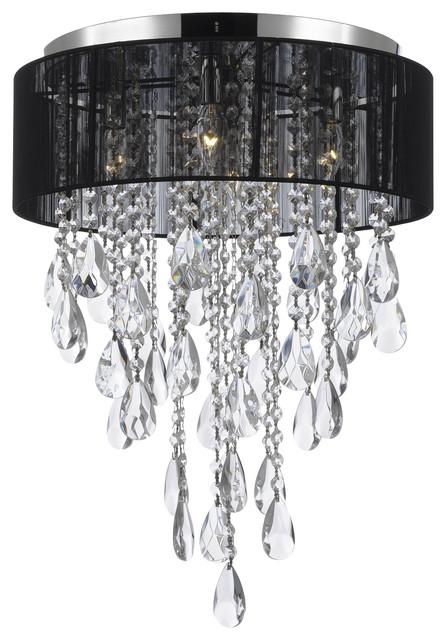 Flush-Mount 4-Light Chrome And Black Shade Empress Crystal Chandelier.