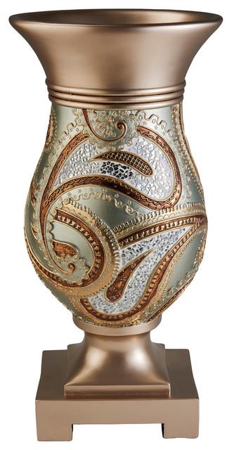 Elegant Golden Mosaic Decorative Vase