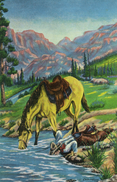 """""""Thirsty Cowboy And Horse Both Put Their Heads in River To Drink"""" Print, 9""""x12"""""""