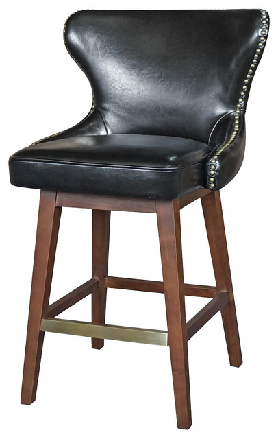 Shop Houzz Kathy Kuo Home Dancy Masculine Black Leather