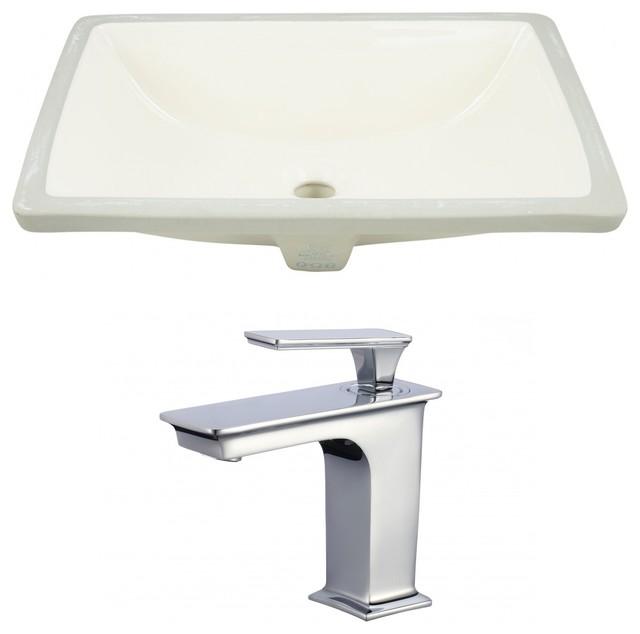 Rectangle Undermount Sink Set, Biscuit, Chrome Hardware, 20.75.