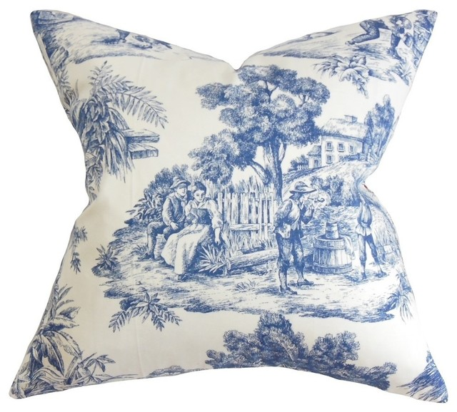evlia toile etoile pillow blue traditional decorative. Black Bedroom Furniture Sets. Home Design Ideas