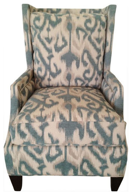 Exceptional Modern Blue Ikat Print Wing Chair   $1,800 Est. Retail   $1,500