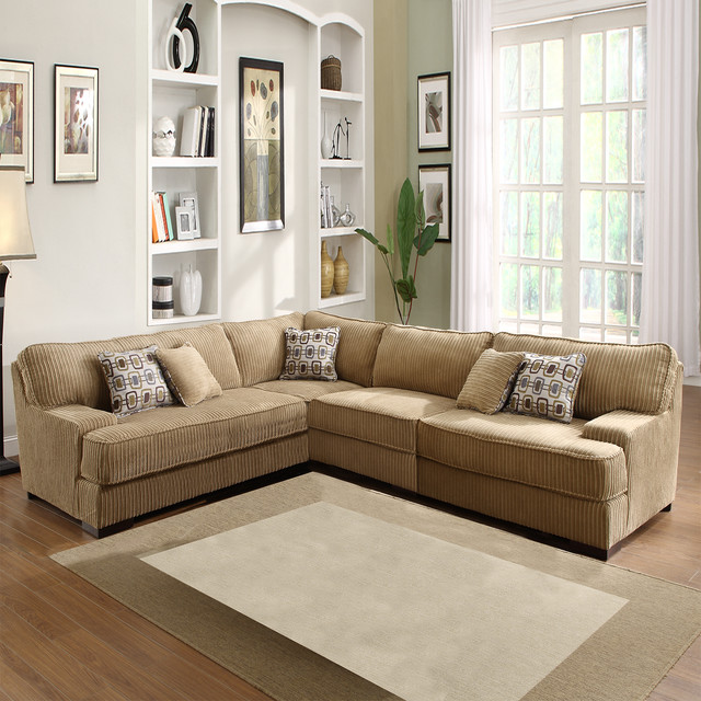 Tara Beige Chenille Sectional Contemporary Sectional Sofas