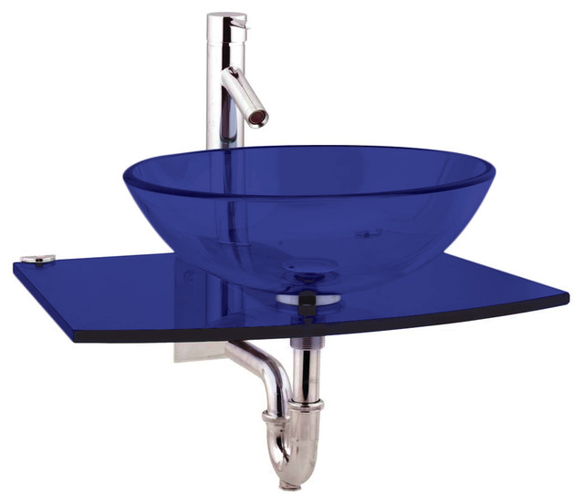 Tempered Glass Vessel Sink.Chrome Faucet Drain P Trap Wall Mount Stainless  Steel Contemporary