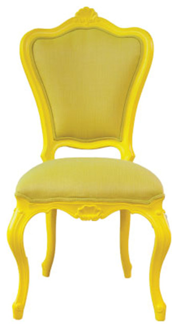 French Victorian Style Outdoor Chair, Soleil Yellow.