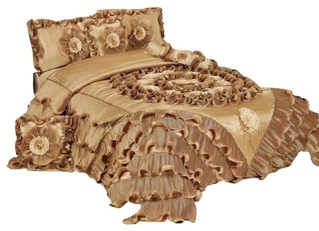 6piece caramel latte ruffle comforter quilt set california king victorian comforters
