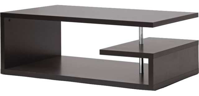 Lindy Dark Brown Modern Coffee Table Contemporary Coffee