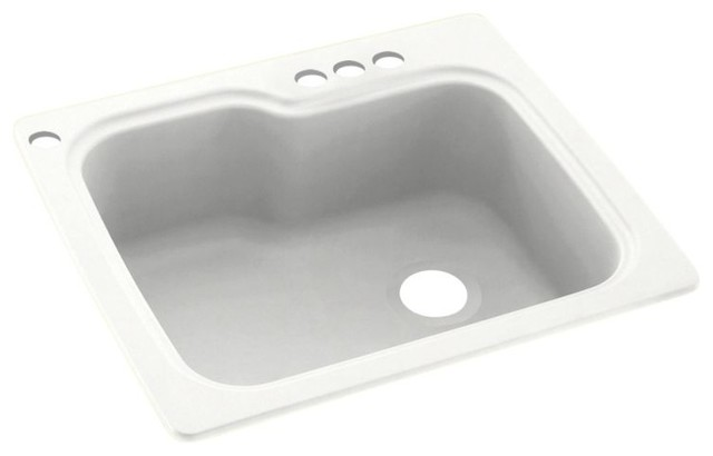 Swan 25x22x9 Solid Surface Kitchen Sink 4 Hole
