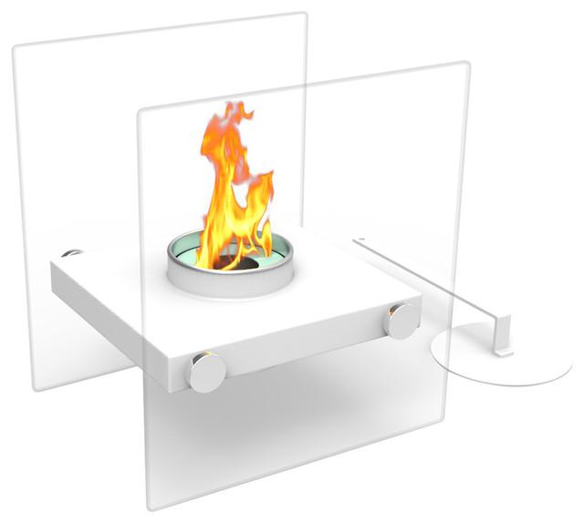 Regal Flame Luminox Ventless Tabletop Portable Bio Ethanol Fireplace, White.