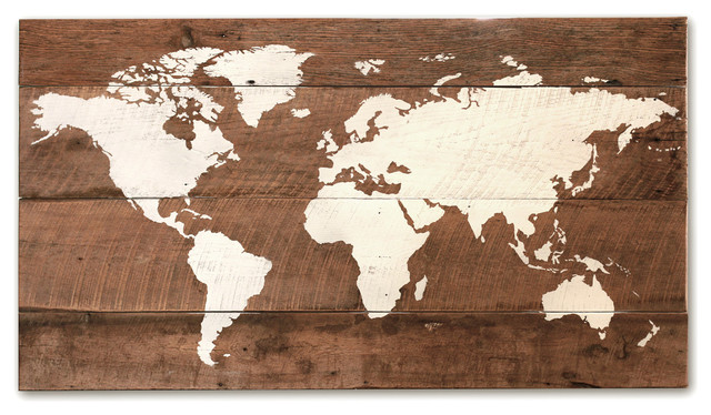 "World Map Wood Wall Art old world wall map, 37""x20"" - rustic - mixed media art -"