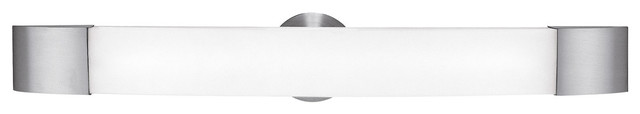 Aspen Dimmable LED Vanity - Brushed Steel Finish With Opal Glass Shade