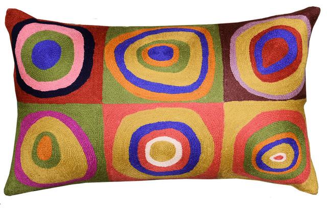 "Lumbar Kandinsky Cushion Cover Rectangle Farbstudie Quadrate Wool 13x21"""