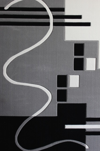 Gray Black White Living Room Area Rugs Geometric Machine Made 3