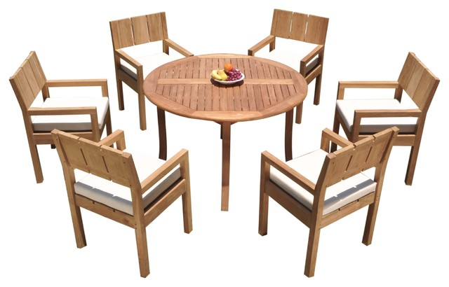 7 Piece Outdoor Dining Set Round Table