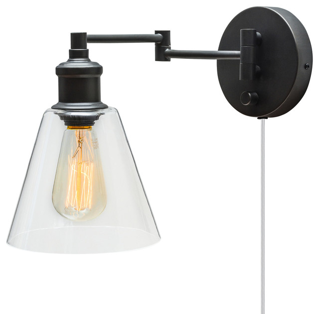 LeClair 1 Light Dark Bronze Plug In Or Hardwire Industrial Wall Sconce