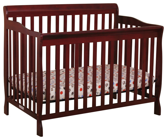 Convertible Wood Crib/Bed With Spring Support and Adj. Base, Cherry