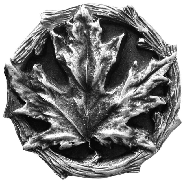 Maple Leaf Knobs (antique pewter) - Rustic - Cabinet And Drawer Knobs ...