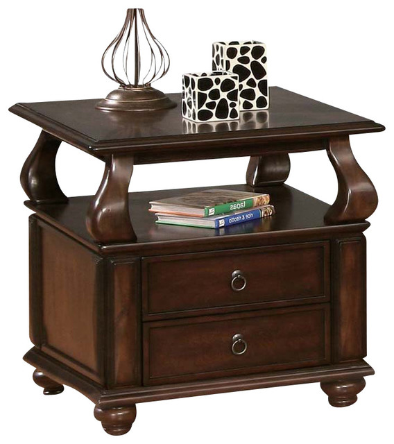 Charmant Walnut Finish 2 Drawer Accent End Side Table With Upper Shelf Bun Feet