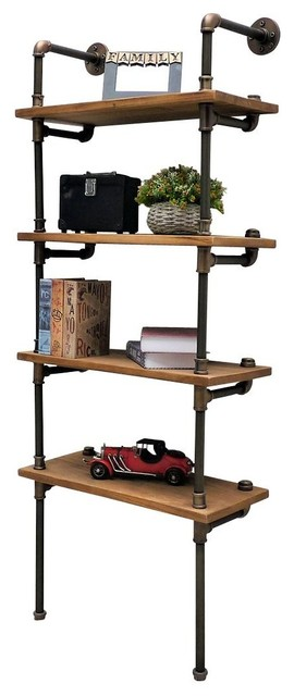 Sacramento Industrial Chic Etagere Bookcase Display, Rustic Bronze/light Wood.