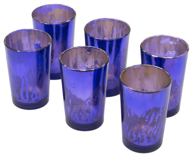Tall Purple Mercury Gl Votive Holders Set Of 6