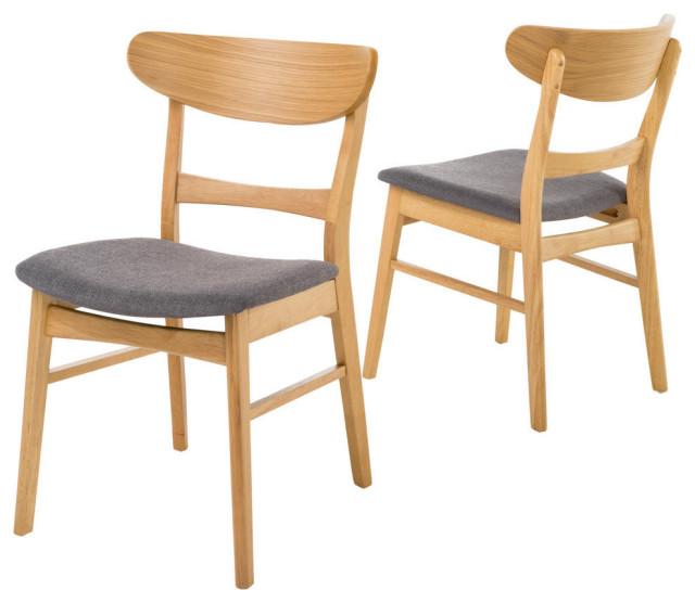 Helen Mid Century Dining Chair, Dark Gray/Oak, Set of 2