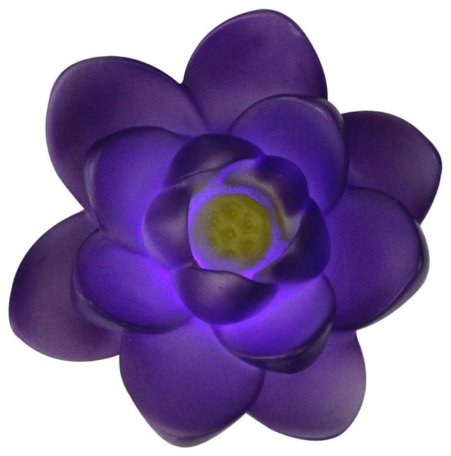 "4"" Floating Purple Flower Led Color Changing Patio Or Swimming Pool Light."