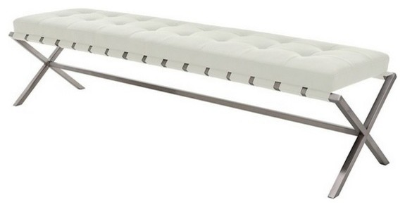 Auguste Bench In Brushed Stainless Steel Frame, White, Large. -2