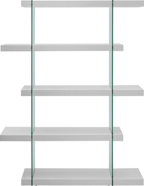 Casabianca Home Il Vetro High Gloss White Lacquer Bookcase