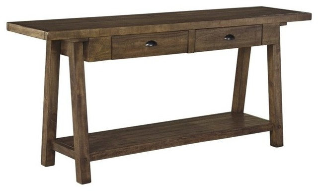 Awesome Ashley Dondie Console Table, Rustic Brown Transitional Console Tables