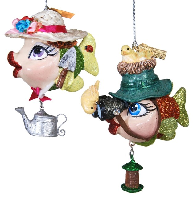 birdwatching and garden fish holiday ornaments set of 2 katherines collection - Fish Christmas Ornaments