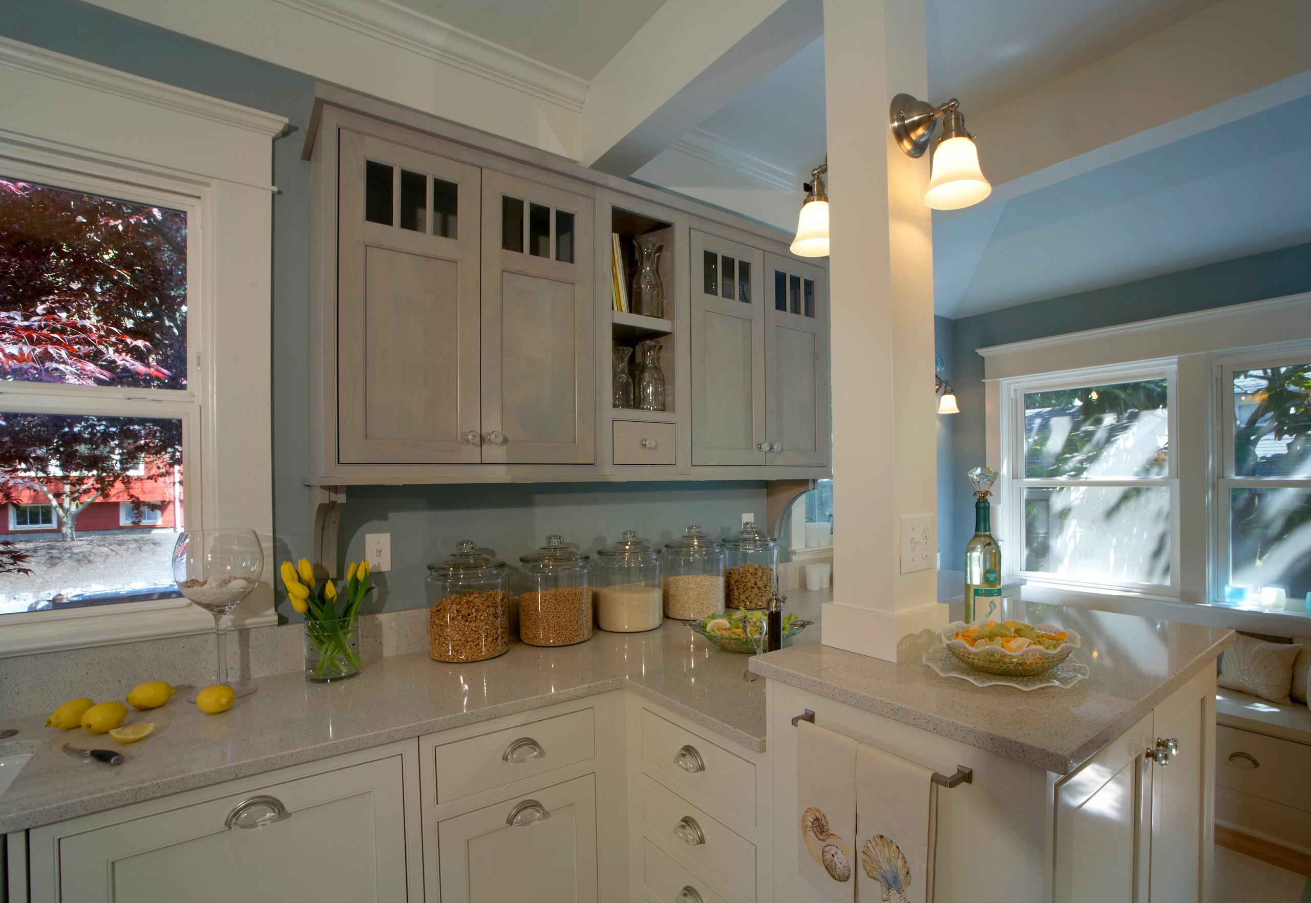 Ballard White Cottage Beach Kitchen - Home Birth Year 1911