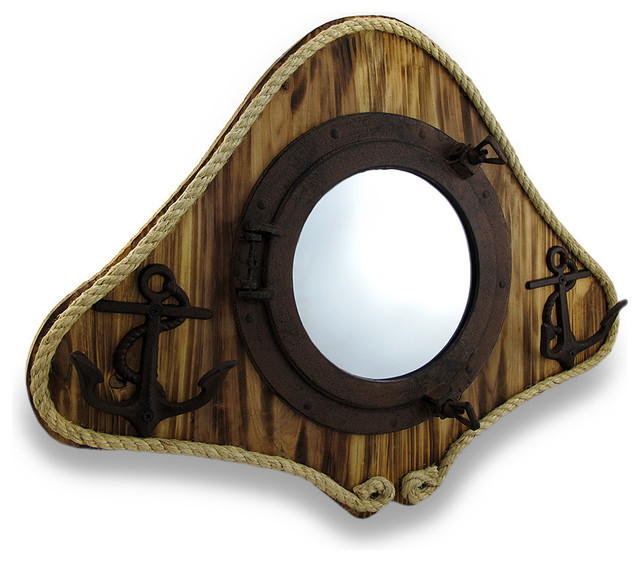 Rustic Finish Mirrored Porthole Anchor Hooks Wooden Wall